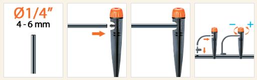 bu ap chan cam Đầu tưới nhỏ giọt điều chỉnh (lắp cọc) 0 40 l/h / 0 40 l/h adjustable dripper