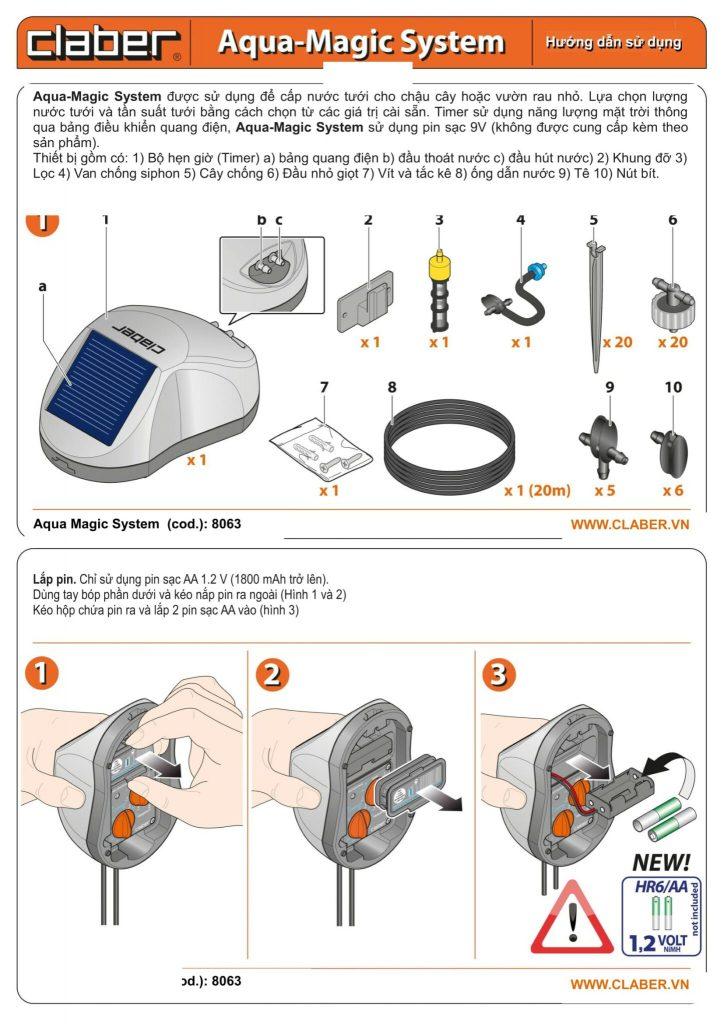 HDSD 8063 Tr01 1 Hướng dẫn sử dụng hệ thống tưới ban công Aqua Magic [8063]